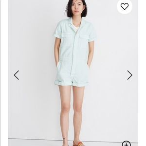 • Madewell • Denim Coverall Romper Mint Large